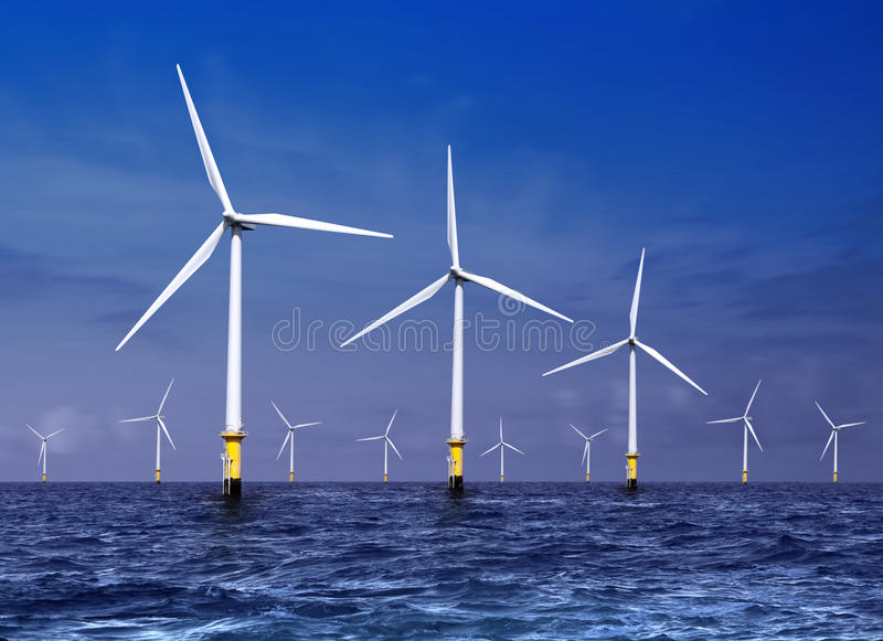 Download Wind turbines on sea stock photo. Image of renewable - 19354000