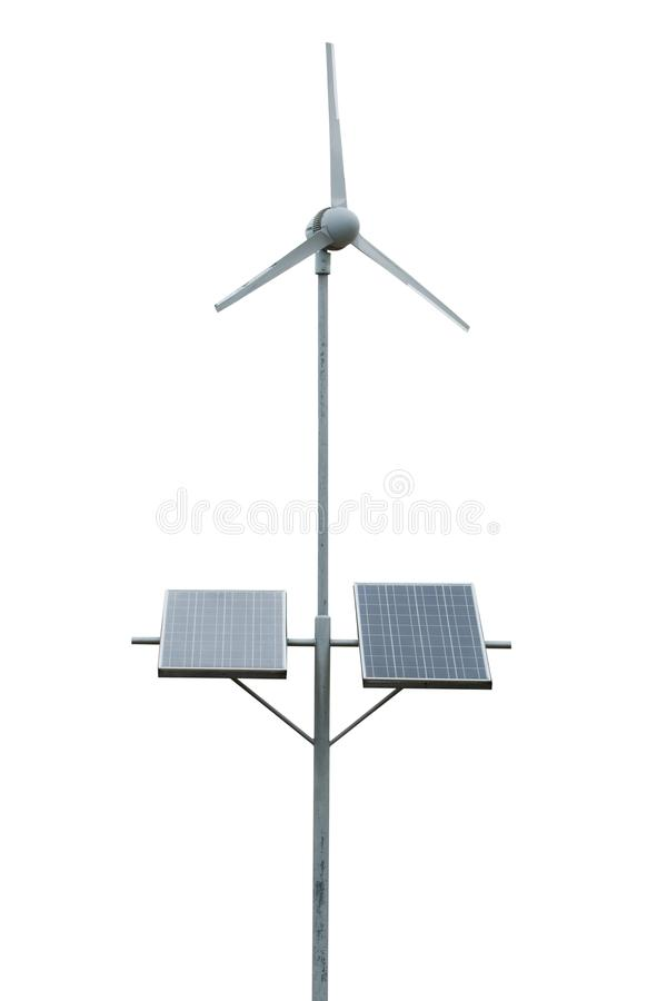 Wind turbines and solar cells isolated on white background. Clipping path.  royalty free stock image