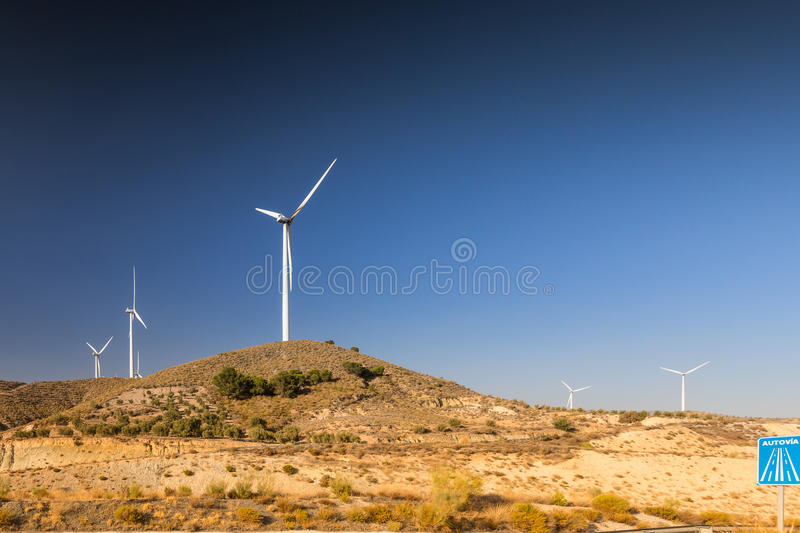 Wind turbines in Spain royalty free stock images