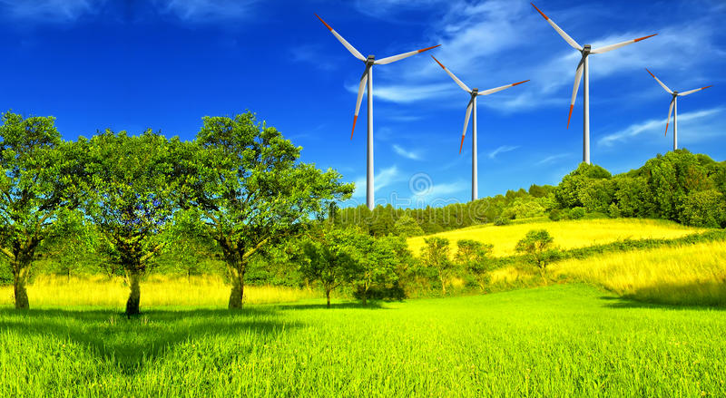 Wind turbines, summer landscape royalty free stock images