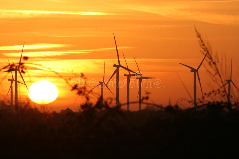 Wind turbines at sunset royalty free stock image