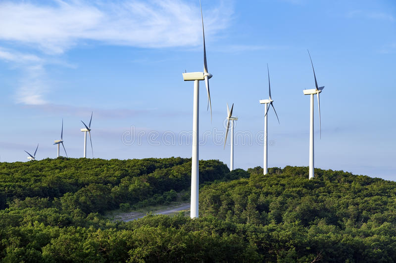 Wind turbines on top of a hill in West Virginia royalty free stock images