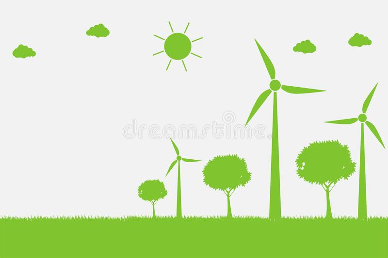 Wind turbines with trees and sun Clean energy with eco-friendly concept ideas.vector illustration. Wind turbines with trees and sun Clean energy with eco vector illustration