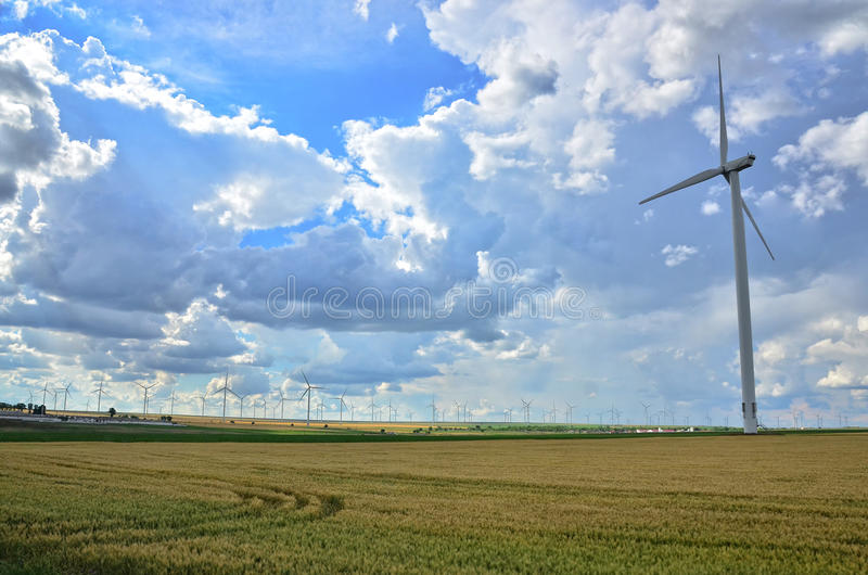 Wind turbines. Wind turbine installed to produce renewable wind energy stock image