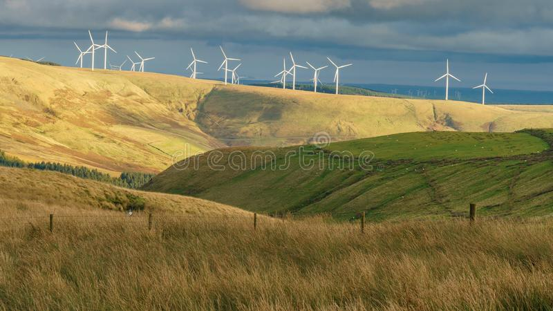 Wind turbines in Wales, UK. Wind turbines, seen from the A4107 near Blaengarw in Bridgend, Mid Glamorgan, Wales, UK stock photo