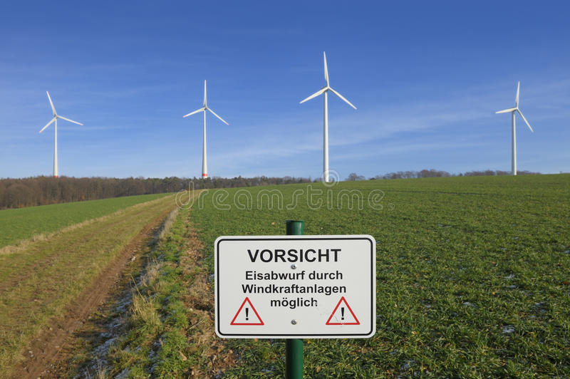 Download Wind Turbines And Warning Sign Stock Photo - Image: 22948240