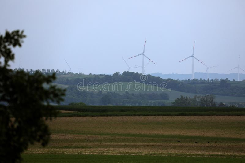 Wind turbines in a wind farm, renewables stock images