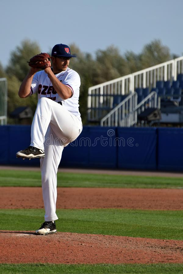 Wind up of Czech pitcher in the Super 6 game against the Spanish team. This Super 6 event, which will be staged for the first time this year in Hoofddorp, The stock image