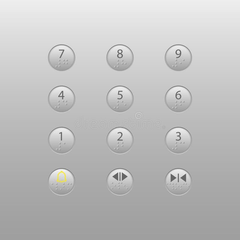 Winda guzik z Braille kodem ilustracja wektor