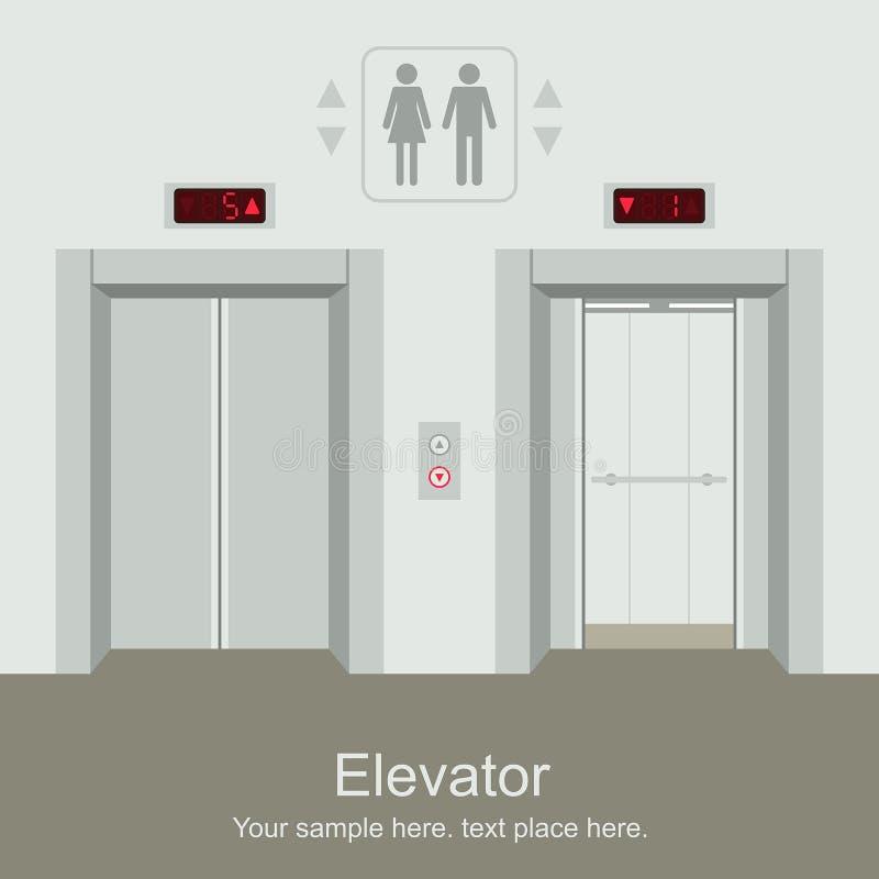 Winda otwarta i zamknięci drzwi royalty ilustracja
