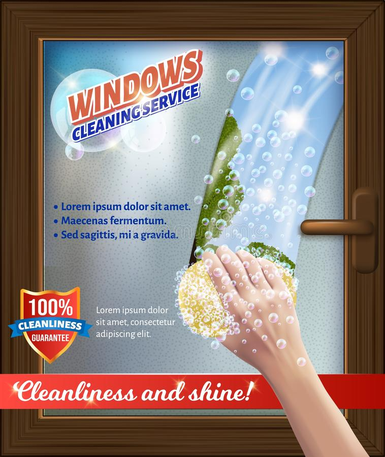 Windaws Clean Service. Bast in Hand. Wash Window. Windows Clean Service. Bast in Hand. Wash Window. Detergent for Home. Cleaning Service. Vector Illustration vector illustration