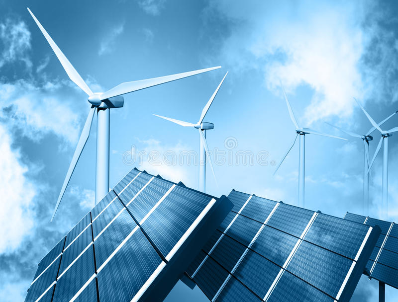 Windbauernhof und -Sonnenkollektor lizenzfreie abbildung