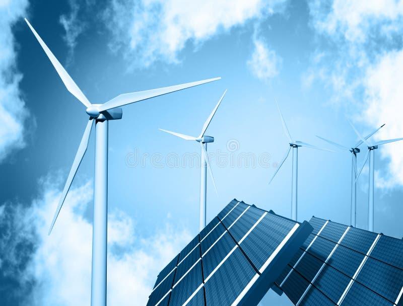 Windbauernhof und -Sonnenkollektor vektor abbildung
