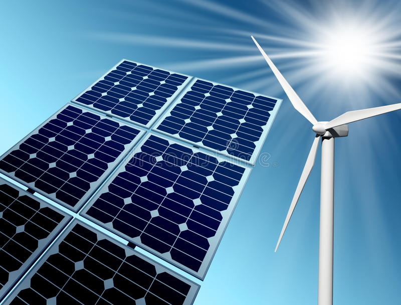 Windbauernhof und -Sonnenkollektor stock abbildung