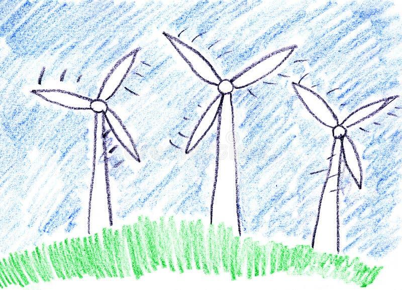 Windbauernhofturbinen lizenzfreie abbildung