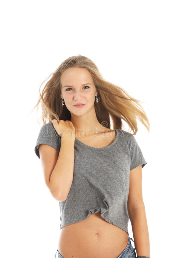 Download Windblown young woman stock photo. Image of casual, slim - 26345828