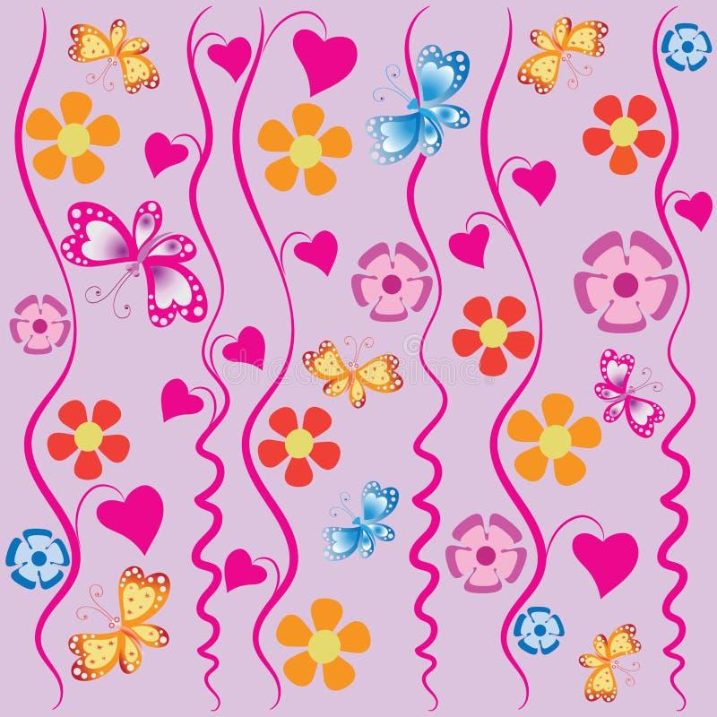 Winde, vlinders en bloemen stock illustratie