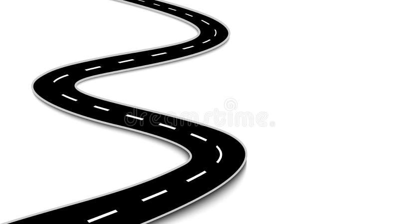 Windende die weg op witte achtergrond wordt geïsoleerd royalty-vrije illustratie