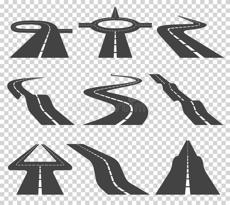 Windende gebogen weg of weg met noteringen Richting, vervoersreeks Vector illustratie royalty-vrije illustratie