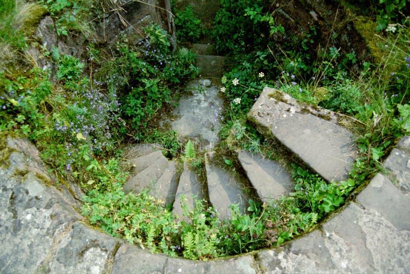 Windende middeleeuwse trap stock afbeelding