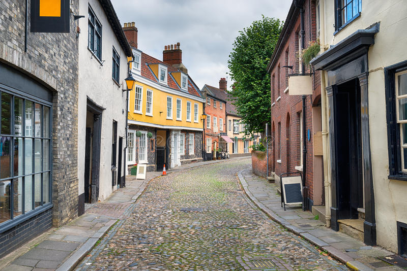 Windende Straat Cobbled in Canterbury stock foto's