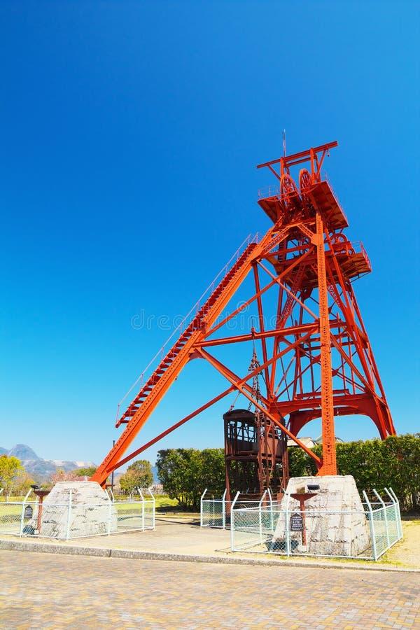 Windende toren van vroegere Mitsui Tagawa Ita Coal Mine stock afbeeldingen