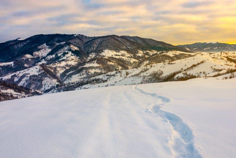 Windende voetweg door sneeuwhelling in bergen royalty-vrije stock foto's