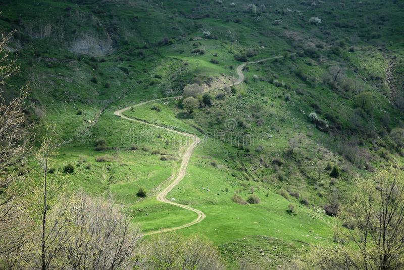 Windende weg in berg stock afbeelding