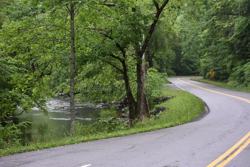 Windende weg in het Rokerige Berg Nationale Park royalty-vrije stock fotografie