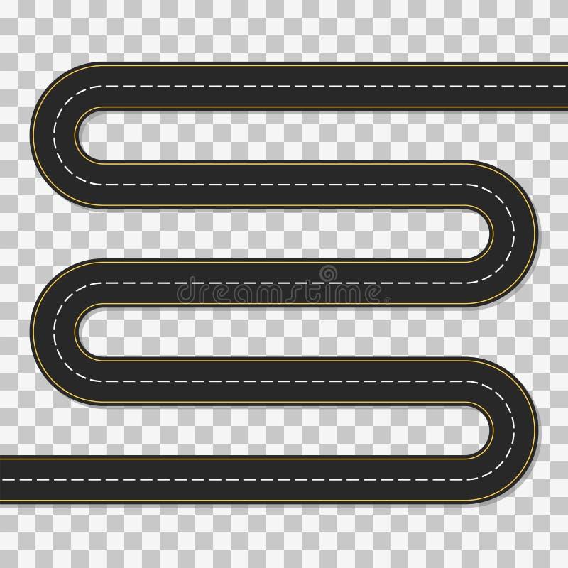 Windende weg Leeg malplaatje van moeilijke route stock illustratie