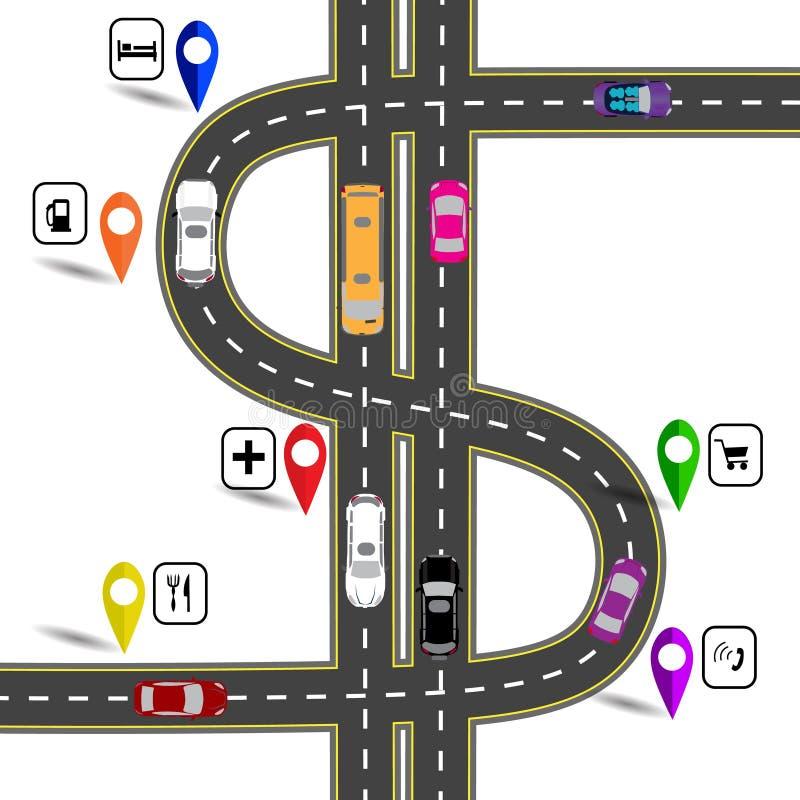 Windende weg met tekens De weg specificeert de navigator Humoristisch beeld Illustratie stock illustratie