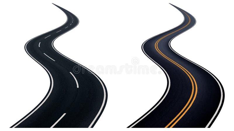 Windende weg twee stock illustratie