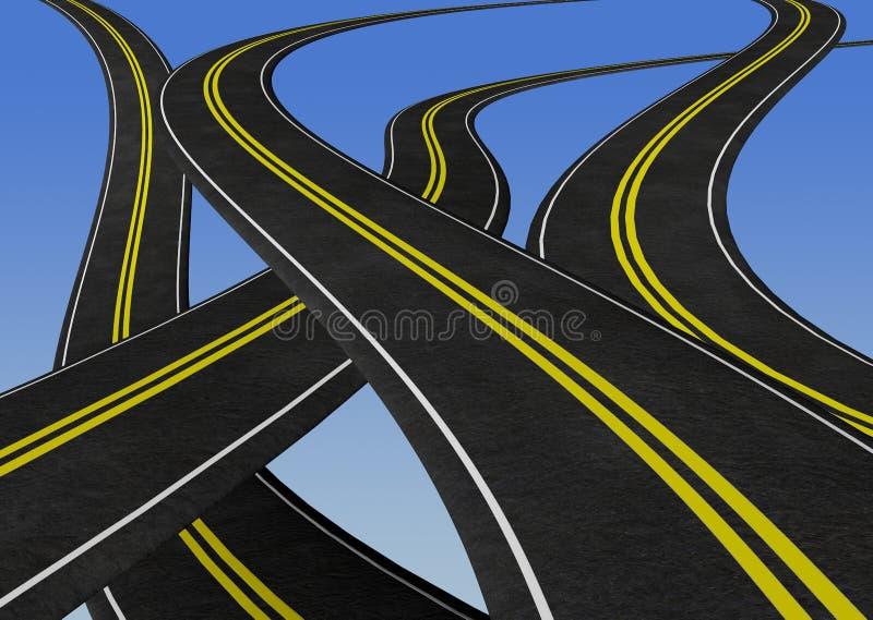 Windende wegen die elkaar kruisen - 3D illustratie stock illustratie