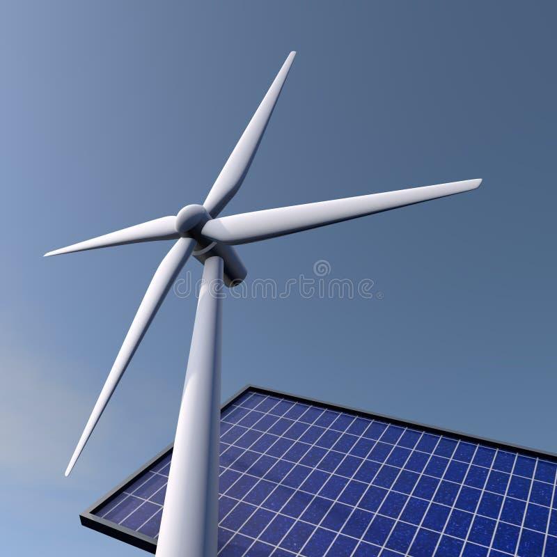 Windenergie en zonnepanelen vector illustratie