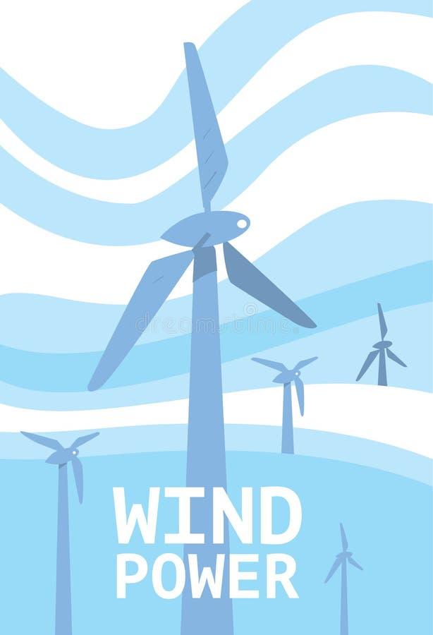Windenergiebanner Vernieuwbaar middelenconcept stock illustratie