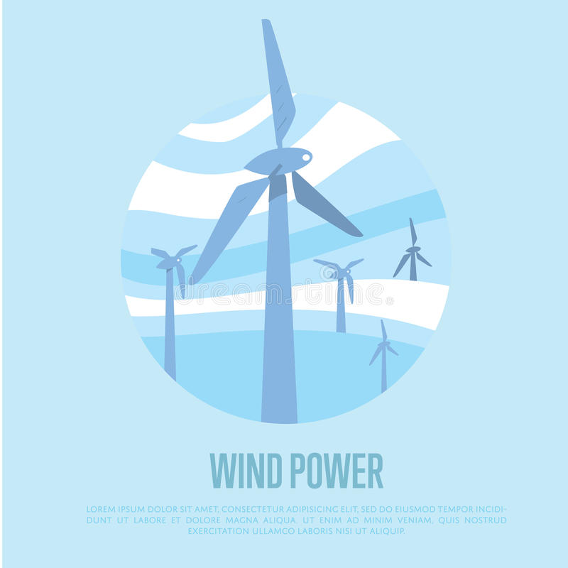 Windenergiebanner Vernieuwbaar middelenconcept royalty-vrije illustratie