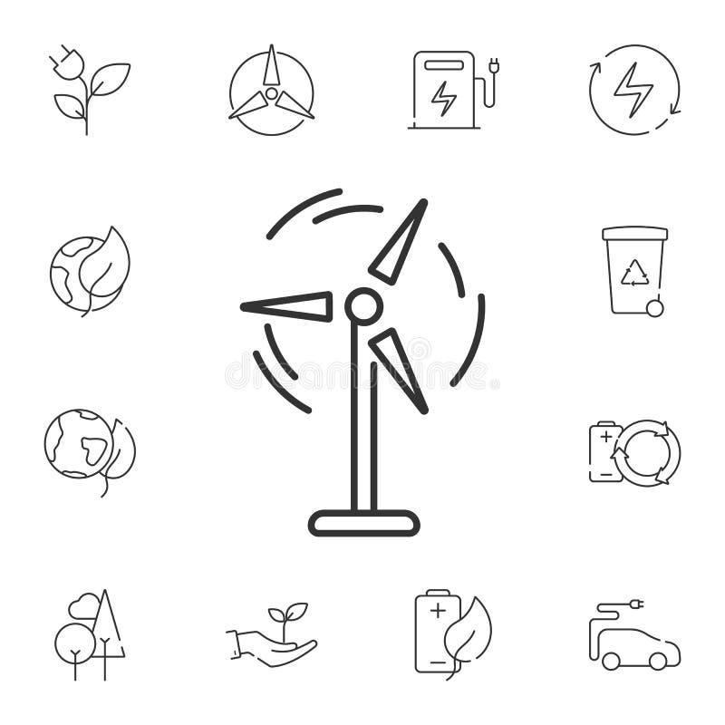 windenergiepictogram Eenvoudige elementenillustratie Het ontwerp van het windenergiesymbool van de reeks van de Ecologieinzamelin stock illustratie