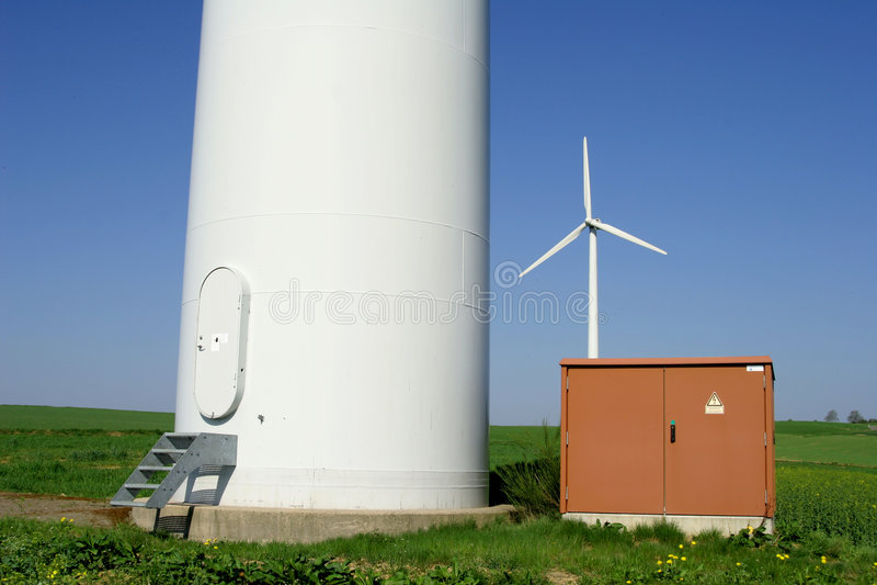 Windenergy 4. Wind energy plant behind electricity box stock image