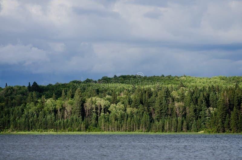 Winderige meerscène in Manitoba stock fotografie