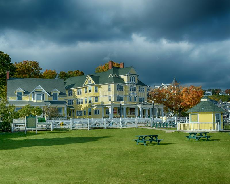 The Windermere Hotel on a windy day in October. Windermere Hotel Mackinac Island, Michigan / United States - October 16, 2018: The Windermere Hotel on a windy royalty free stock images