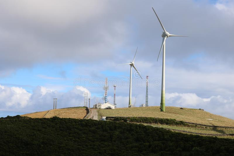 Windfarm in Azores. royalty free stock image