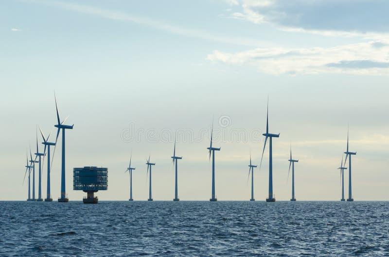 Windfarm costero Lillgrund foto de archivo
