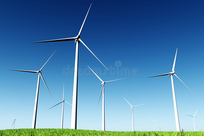 Windfarm dans le pré 3D rendent illustration stock