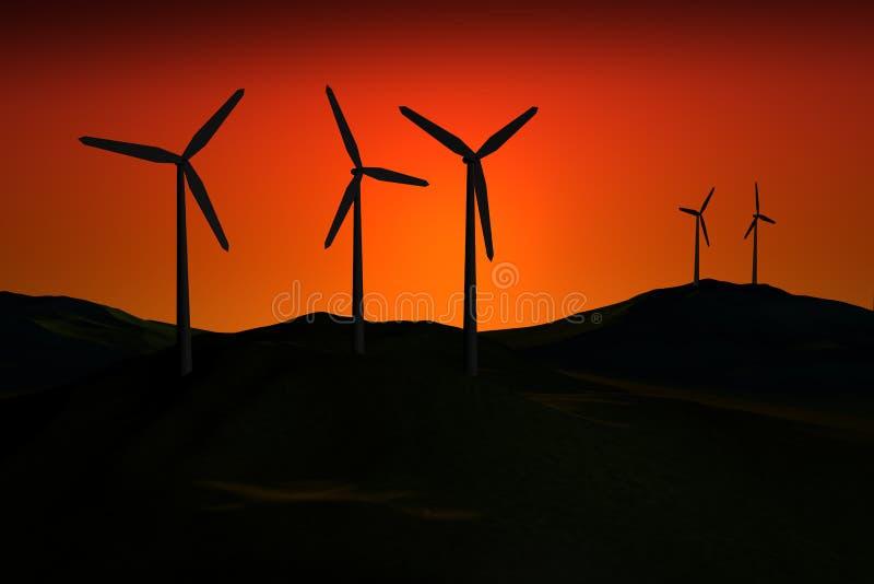 Windfarm en la puesta del sol ilustración del vector