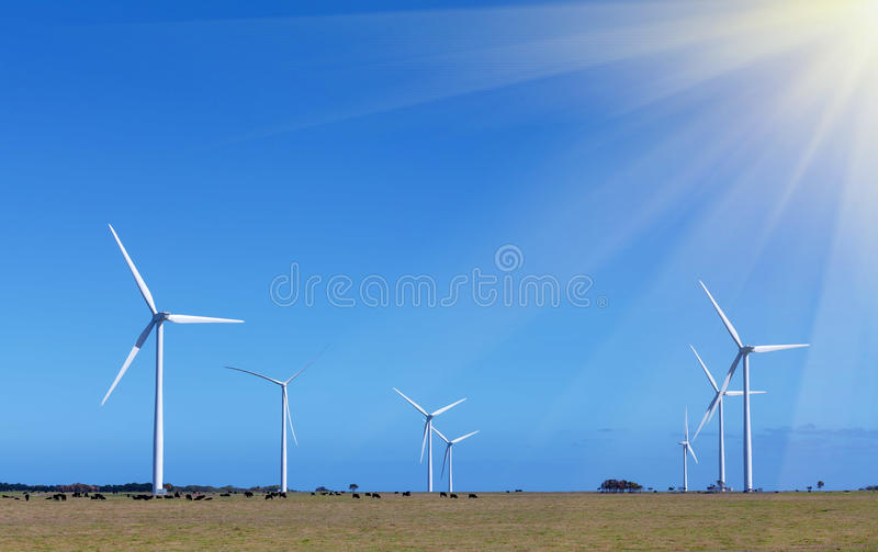 Windfarm (group of windmills) - Clean Energy production. Victoria, Australia royalty free stock photography