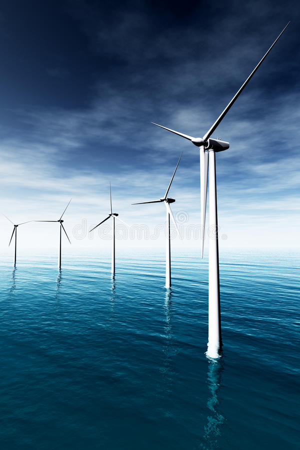 Free Windfarm In The Sea 3D Render 02 Royalty Free Stock Photo - 23620095