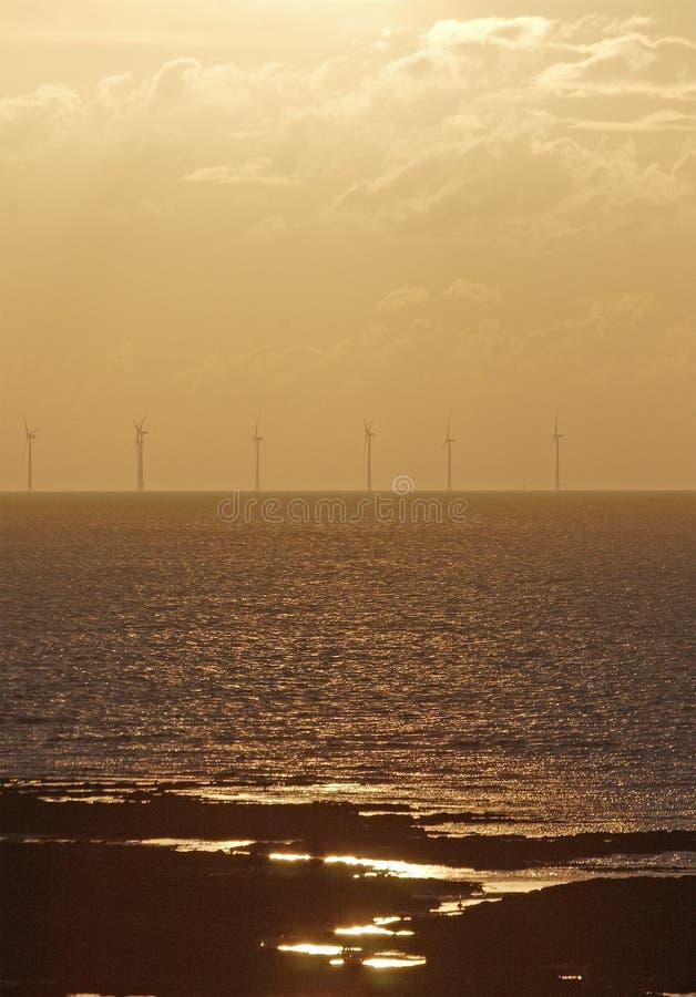 windfarm na morzu obraz stock