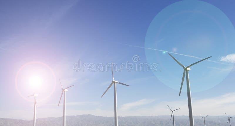 Download Windfarm och solsken arkivfoto. Bild av miljö, växt, mast - 78731130