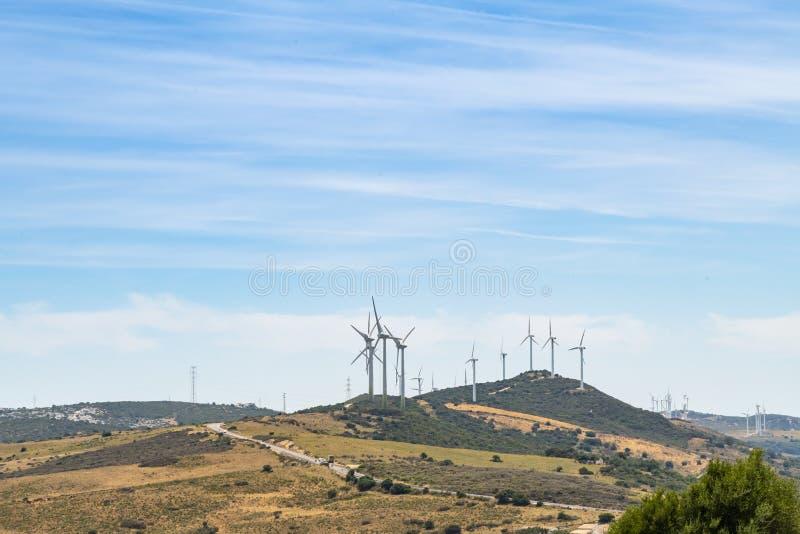 Windfarm Spanien för Los Llanos för vindturbiner royaltyfri fotografi