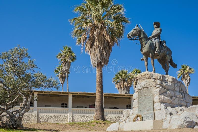 Windhoek, equestrian memorial or 'German Rider of South. Equestrian Memorial or 'German Rider of Southwest' (Reiterdenkmal), set in 1912 on the hill of Fidel stock image